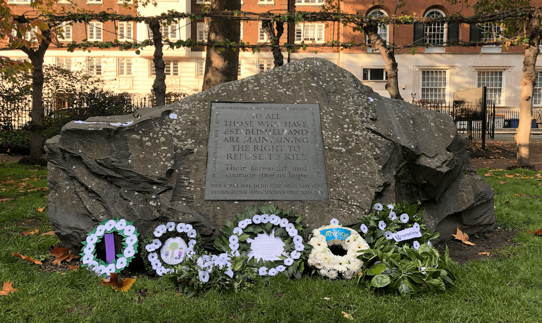 White Poppy Wreaths laid at the PPU's Alternative Remembrance Ceremony 2019