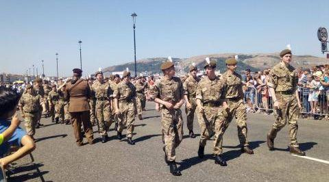 Armed forces cadets marching in Llandudno, 2018