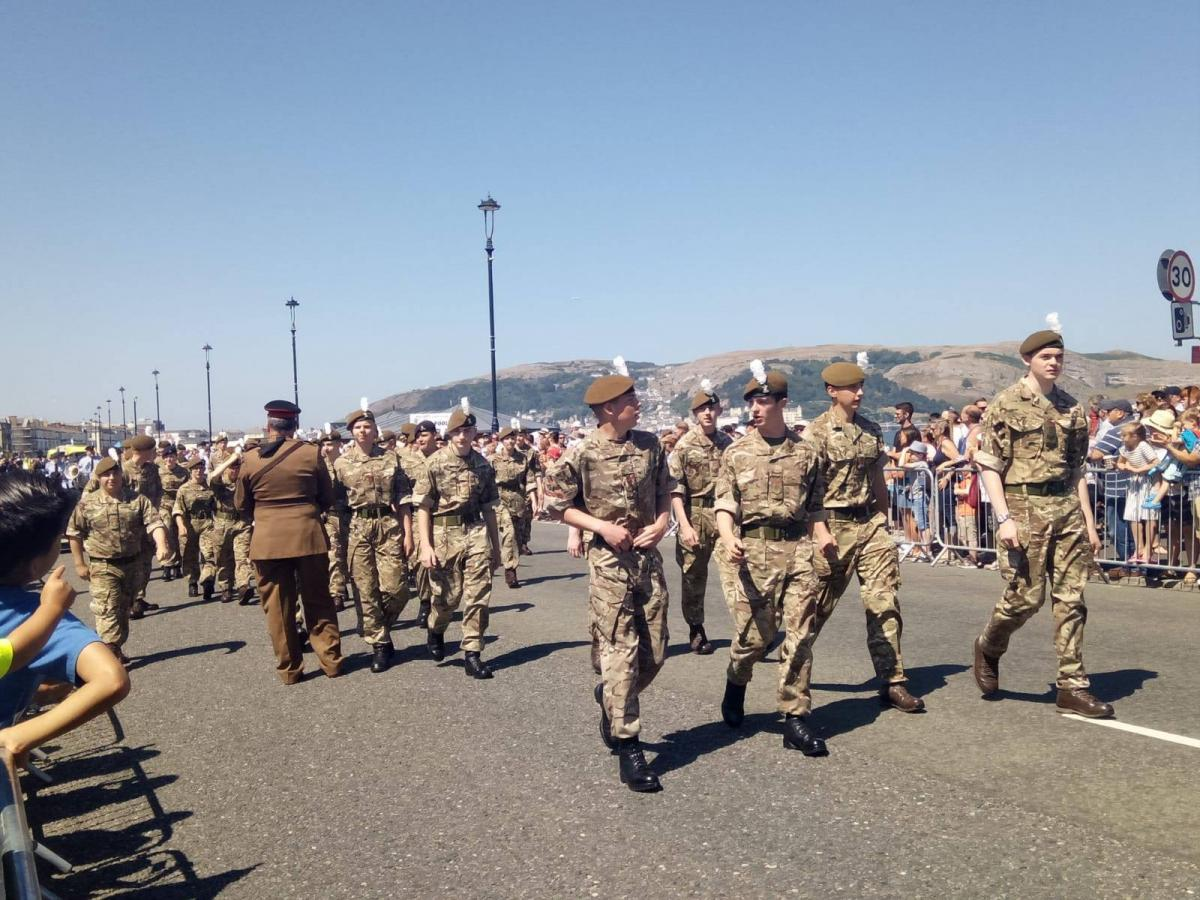 Teenagers in military uniform marching in Llandudno