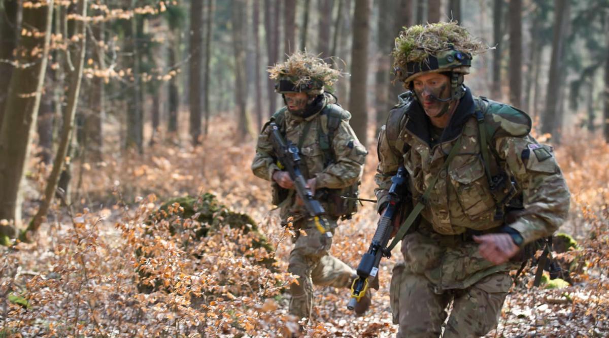 British army recruits in training