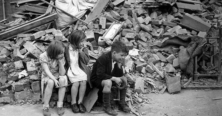 Children bombed out of their homes in the London Blitz, 1940