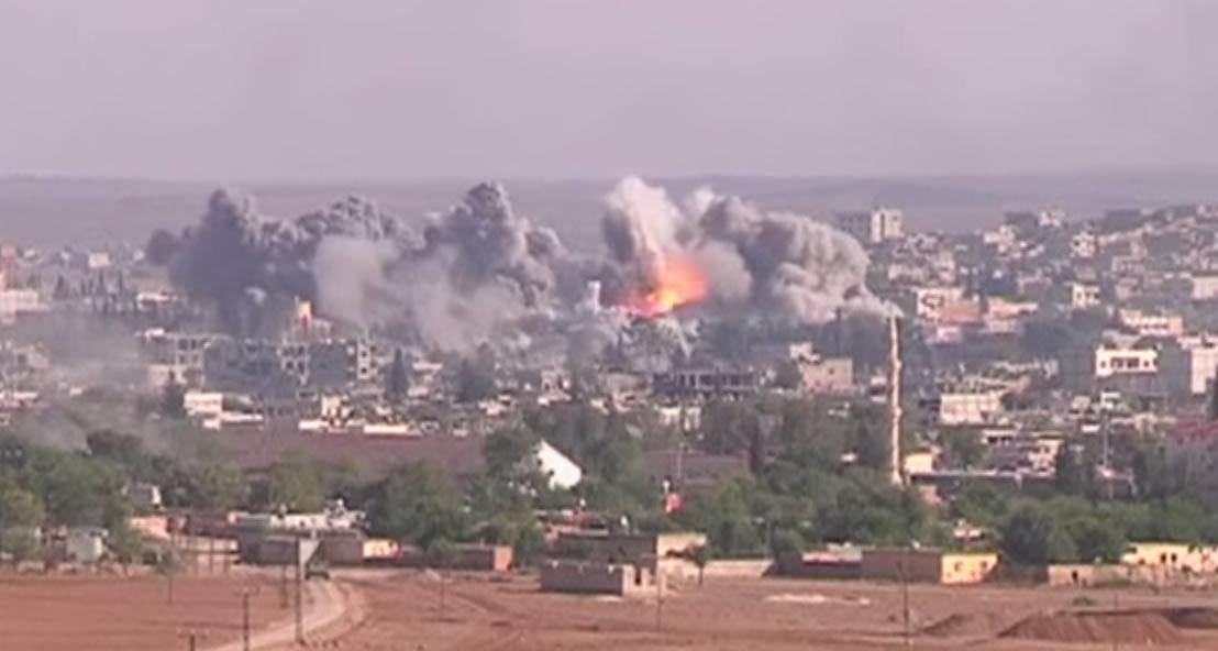 Explosion of a US-led coalition bomb in Syria