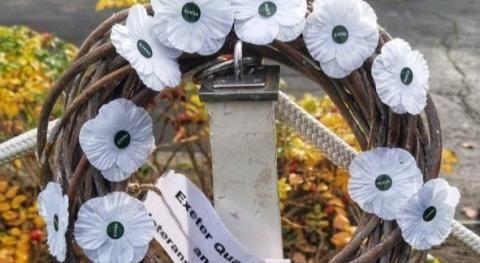 White poppy wreath in Exeter