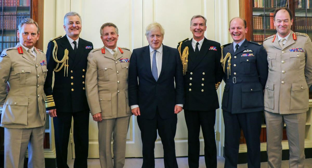 Boris Johnson with leaders of the UK armed forces