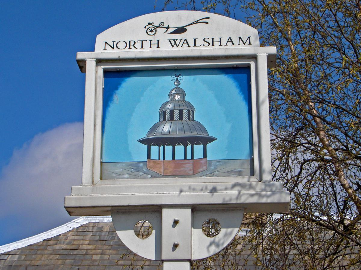 Sign welcoming visitors to North Waltham