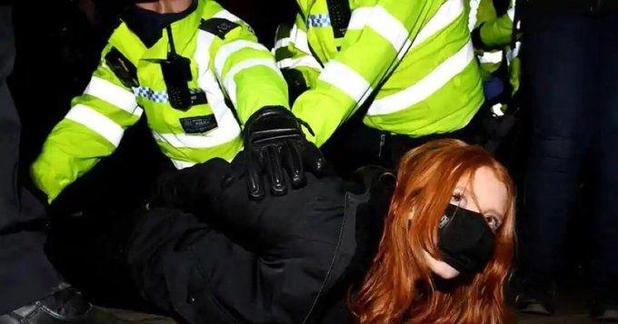 Protester Patsy Stevenson arrested at the Reclaim These Streets vigil
