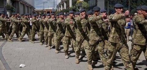 British troops marching on Armed Forces Day