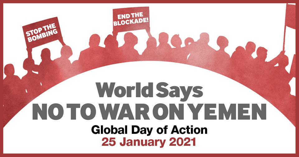 "Online advertisement for the Day of Action, saying ""World Says No to War on Yemen"""