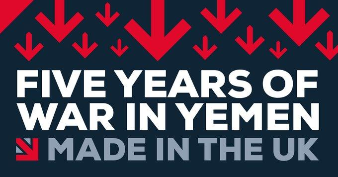 "Sign reading ""Five years of war in Yemen made in the UK"""