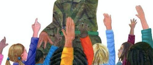 Children in front of a soldier