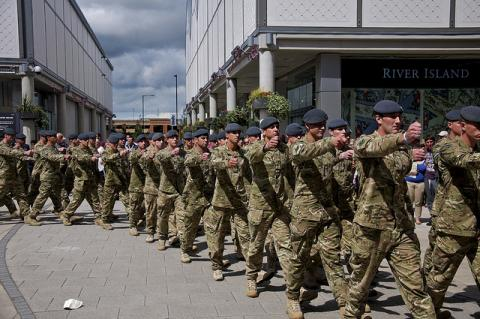 Troops marching in the streets on Armed Forces Day