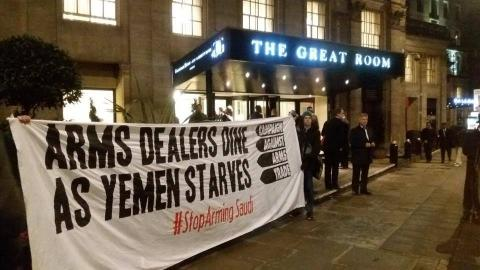 Protest at the ADS dinner in 2018