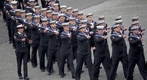 Troops marching in the streets on Armed Forces Day 2018