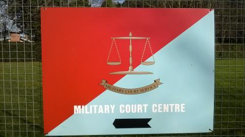 Sign outside Bulford Military Court in Wiltshire