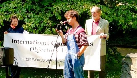 Jay Sutherland speaking at the Conscientious Objectors' Day ceremony in London