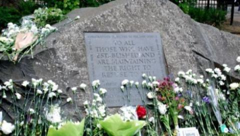 Conscientious objectors' memorial stone in Tavistock Square, London