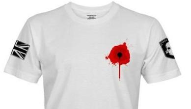 T-shirt with red poppy depicted as a gunshot wound in the chest
