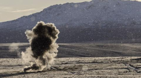 Cluster munition exploding in the Falkland Islands