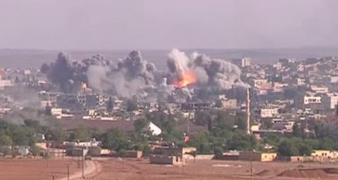 US-led coalition bomb exploding in Syria
