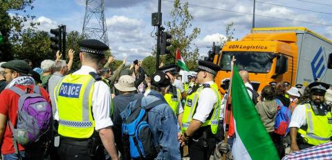 Protests at the entrance to DSEI, 2 September 2019