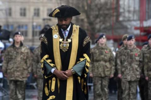 Majid Majid wearing his white poppy at the Remembrance Day ceremony