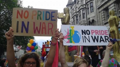 No Pride in War protest