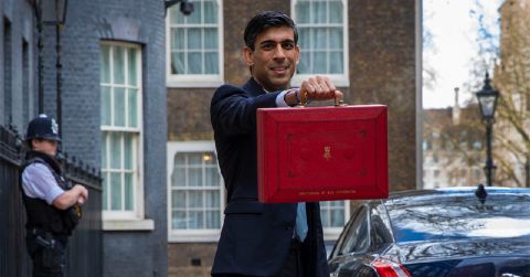 Rishi Sunak holding up his red box outside 11 Downing Street