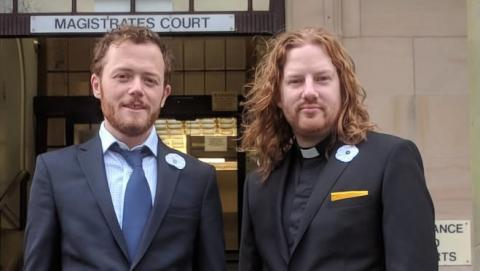 Sam Walton and Dan Woodhouse outside court