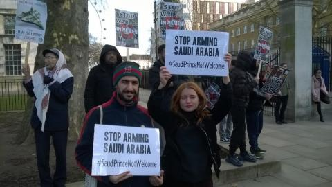 PPU members demonstrating against the UK government's military support for Saudi Arabia
