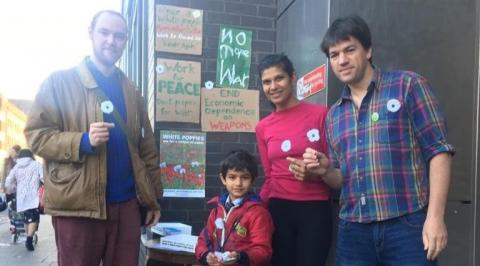 PPU supporters selling white poppies in Hackney