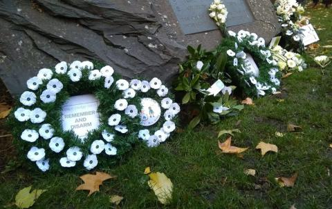 White poppy wreaths at the ceremony in London