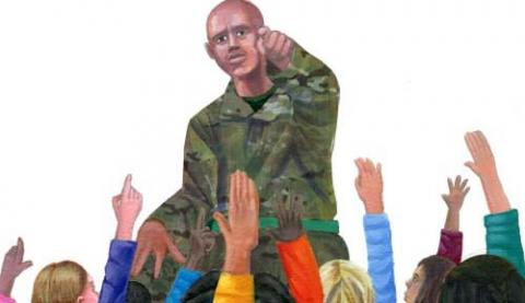 Image of a soldier talking to children