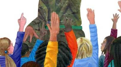 Image of children listening to a soldier